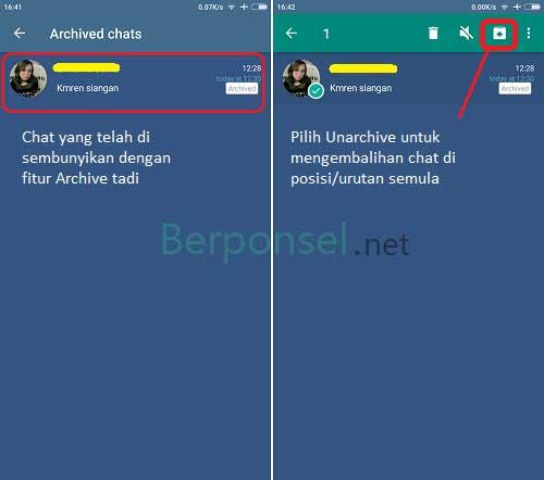 cara menampilkan chat whatsapp yang di archive