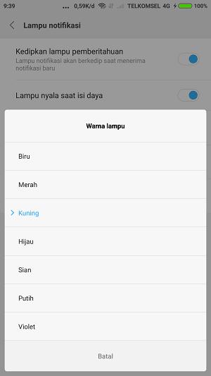cara ganti warna lampu notifikasi Xiaomi
