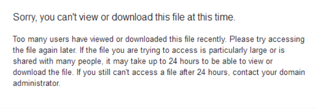 Google Drive terkena limit
